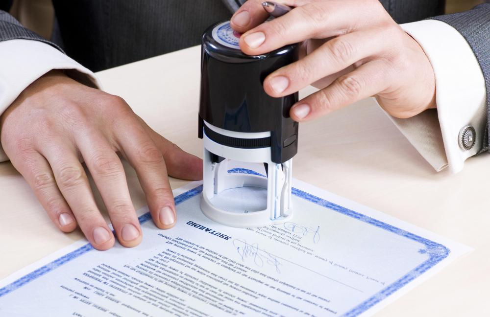 A notary public often signs and stamps affidavits.